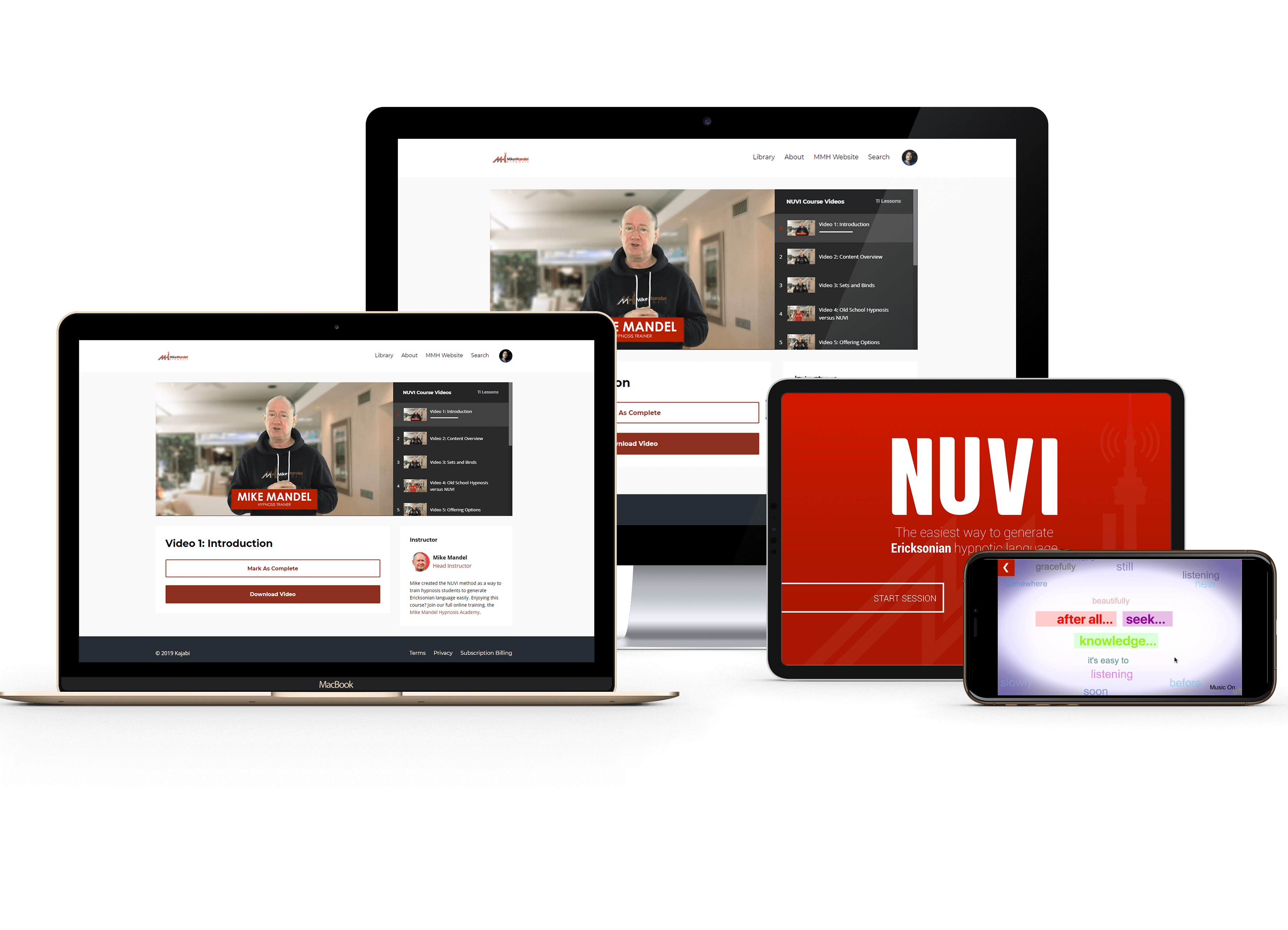 NUVI Course and app hypnosis training tools