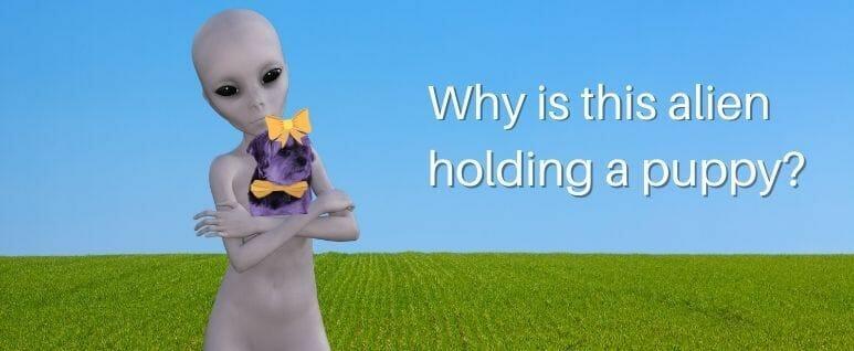 Alien holding purple dog