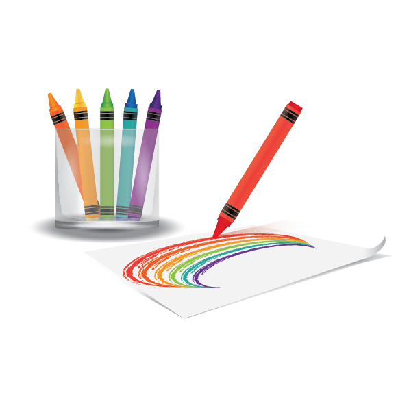 Crayon Drawing Rainbow On Paper